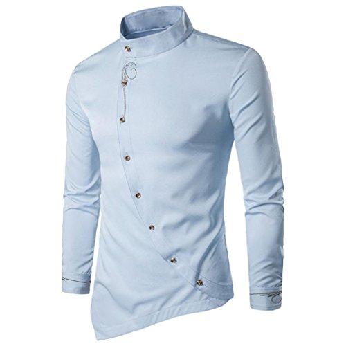 Sunhusing Men Casual Slanting Irregular Stand Collar Embroidered Button Long Sleeve ()