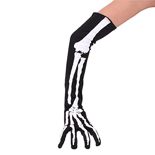 Sexy Gamer Costumes (Anleolife White Skeleton Gloves 1 Pair Long Arm Warmer Skeleton Halloween Costume Gamers Full Finger Zombie Costume Riding)