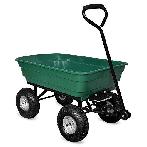 Gartenkarre mit Kippfunktion, Lenkachse und Luftreifen - Bollerwagen Muldenkipper Kippwagen Transportkarre Gartenwagen