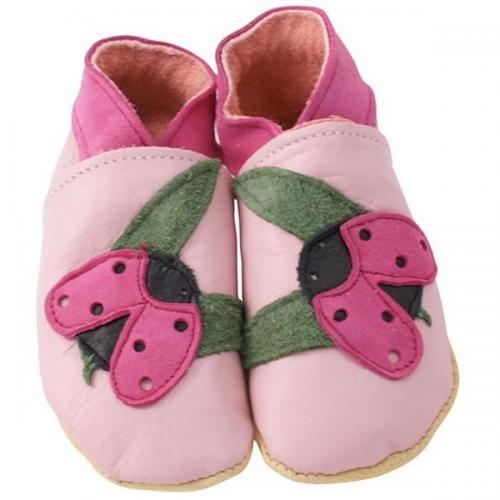 Daisy Roots Chaussures pour bébé en cuir souple Motif coccinelle 0-6 mois