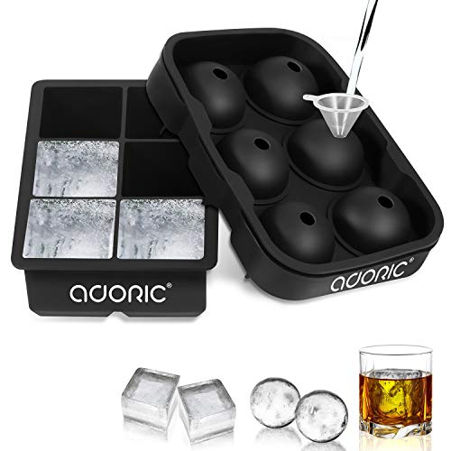 Ice Cube Trays Large, Silicone Ice Cube Tray Big Ice Cubes for Whiskey Ice Tray Ice Ball Maker Sphere Ice Mold- Large Round Spheres Reusable Mold and BPA Free (Ice Round Balls)