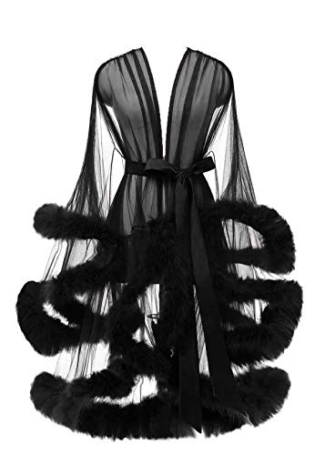 Lamosi Sexy Feather Robe Illusion High Low Boudoir Robe Nightgown Bathrobe Bridal Lingerie Wedding Scarf Black Size XXLarge