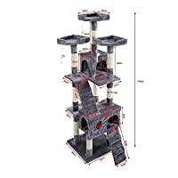 """67"""" Cat Kitty Tree Tower Condo Scratching Post Furniture Play Pet House, Gray"""