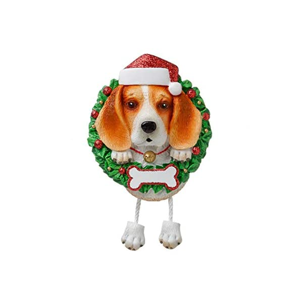 Personalized Beagle Pure Breed Christmas Tree Ornament 2019 - Fluffy Dog Dangle Paw Santa Hat Love Play Small Happy Fun Energetic Fur-Ever Orange Brown New Loyal Family R.i.p. - Free Customization 1