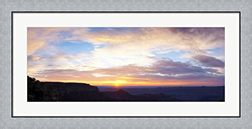 Sunrise on the Colorado Plateau from Cape Royal, North Rim, Grand Canyon National Park, Arizona, USA by Panoramic Images Framed Art Print Wall Picture, Flat Silver Frame, 40 x 20 inches (Rim Frame Picture Silver)