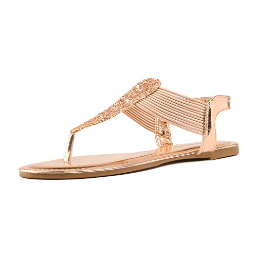 DREAM PAIRS SPPARKLY Women's Elastic Strappy String Thong Ankle Strap Summer Gladiator Sandals Champagne Gold Size 9