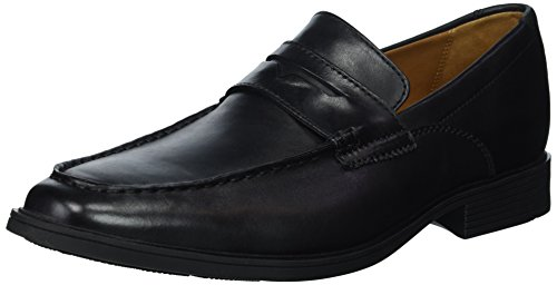 CLARKS Men's Tilden Way Penny Loafer, Black Leather, 10 Medium US
