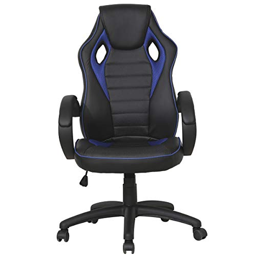 GHP 264-Lbs Capacity Faux PU Leather Swivel Bucket Seat Racing Style Gaming Chair Globe House Products