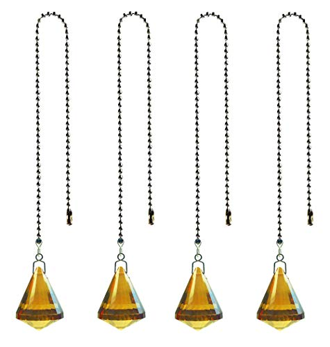 Hyamass 4pcs Crystal Ball Prisms Pendant Ceiling Fan Pull Chain Extender with Ball Chain Connector(Cone)(Champagne Gold)