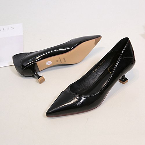 Black JULY Womens Platform Formal Shoes Fashion T Patent Party Heel Middle Leather Ladies Dress Sex Pumps Toe Pointed STFgqww