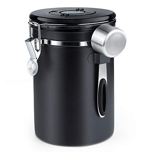 ZWOOS Luchtdichte koffiebus – Koffiebonen Opbergcontainer met CO2-ventiel – met maatlepel – 1.8L (zwart)