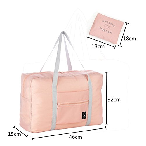 Essort Fashion Travel Bag, 18X12X6 inch Open Size Portable Foldable Storage Bags Capacity Bags with Zipper Waterproof Travel Storage Luggage Clothing Organizer Hand Shoulder Bags Light Pink