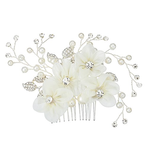 Miallo Bridal Hair Comb Silver Tiny Side Comb Lace Flower with Rhinestone Wedding Headpiece for Women and - Pearl Nina