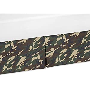 Sweet Jojo Designs Camouflage Crib Bed Skirt Dust Ruffle for Green Camo Collection Bedding Sets