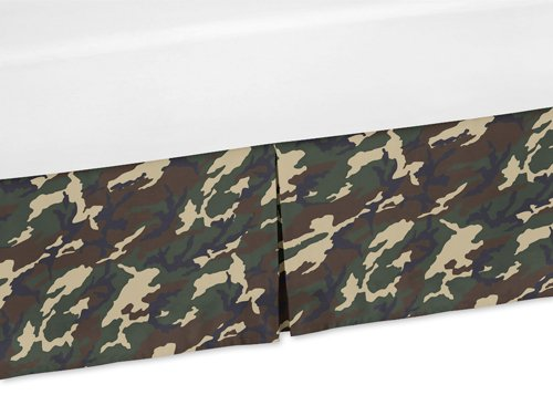 Sweet Jojo Designs Camouflage Crib Bed Skirt Dust Ruffle for Green Camo Collection Bedding - Bedding Collection Camouflage