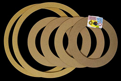 (6 Pack Combo - 4X 9 inches + 2X 14 inches, Biodegradable Floral Craft Ring, Ez Wrap Poly Mesh Center Piece Wreath Form, for Photo Frame, Candle Ring, Mobile, Dream Catcher Etc)
