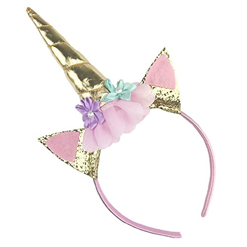 Unicorn Headband Horn Flowers Ears Headbands Gold Glitter Hair Hoop Girls Kids Party Decoration Headdress Cosplay Costume Headwear Halloween Makeup Spiral Crown Handmade (Halloween Decoratins)