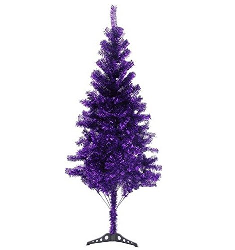 6' Ft Sparking Gorgeous Folding Artificial Tinsel Christmas Tree Purple Color 450 Tips-Unlit (Christmas Colorful Trees)