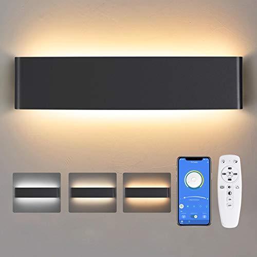 Applique Murale Intérieur LED, 24W Lampe Murale avec télécommande 2700K - 6500K,40CM - Éclairage Murale Intérieur Pour Salon , Chambre à Coucher, Couloir
