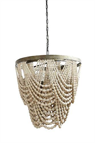 wood bead chandelier - 6