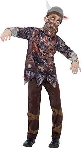 Boys Deluxe Dead Zombie Viking Scary Halloween Fancy Dress Costume With Hat & Beard 4-12 Years (4-6 years) -