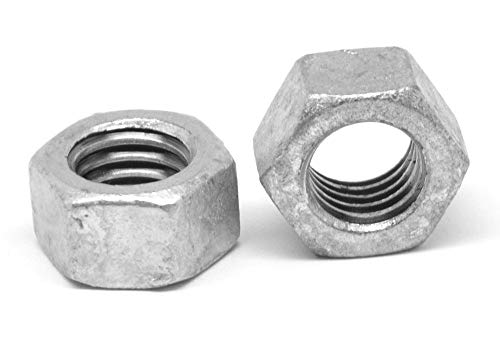 """3/8""""-16 Coarse Thread Finished Hex Nut Low Carbon Steel Hot Dip Galvanized Pk 50"""