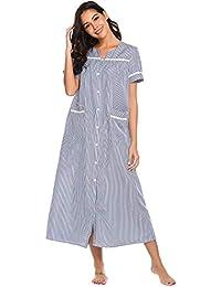 aba932e6234 Women s Striped Sleepwear Button Down Duster Short Sleeve House Dress  Nightgown S-XXL