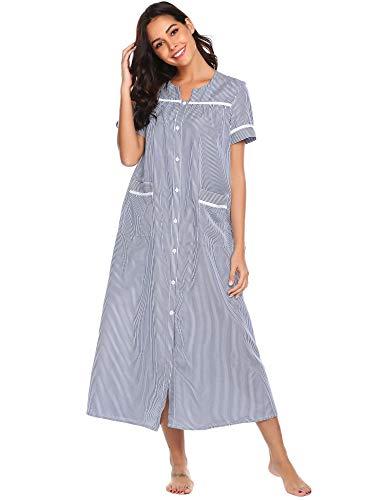 Ekouaer Nightwear Women's Striped Nightgown Short Sleeve House Dress Nightgown (Navy,XL) -