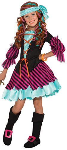 [Salty Taffy Girl's Pirate Costume, Medium] (Halloween Costumes For The Family)