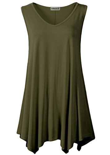 LARACE Women V-Neck Tank Top Tunic for Leggings(M, Army Green)