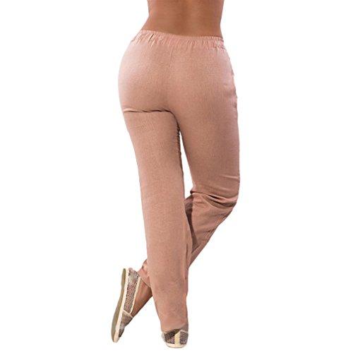 Slim Fit Pantalon Confortable Pantalons Mousseline Leggings Couleur Mode lastique Taille Moyenne pour Casual Abricot Pantalons Femme Taille Solide Longs en wxq8vBz