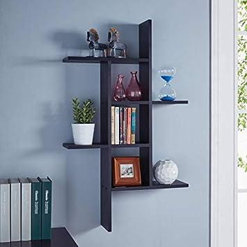 Woodkartindia Beautiful Big Wall Shelf Rack Latest Design Shelves For Home Decor Living Room Office Amazonin