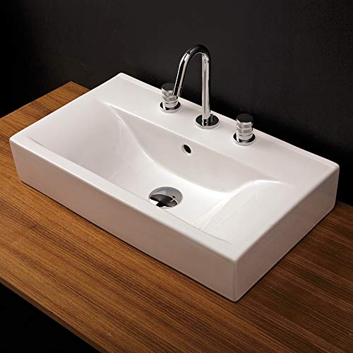Vanity top porcelain Bathroom Sink without an overflow, 24 1/4