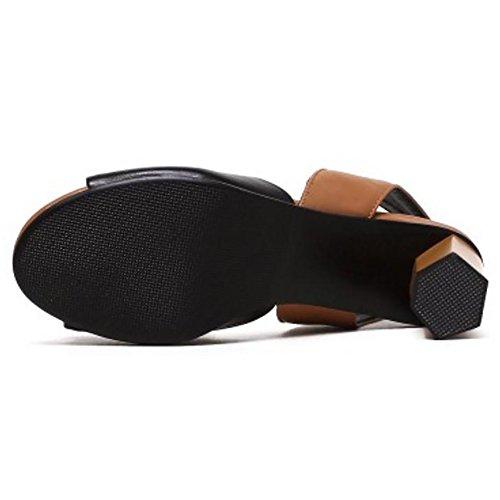 Shoes TAOFFEN Women Black Heel Sandals Block WWpzqgF