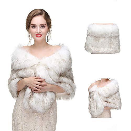 (Faux Fur Shawls Wraps for Wedding Bridal Fur Shrug Stole Cover Up,White and Light Black,Rex Rabbit Fur,32)