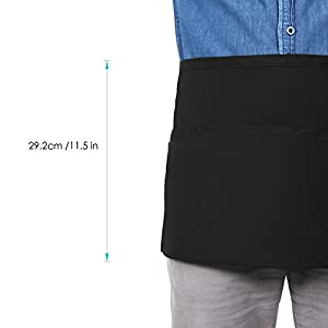 Syntus 3 Pack 3 Pockets 100% Cotton Waitress Waist Apron,11.5-inch Black
