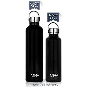 MIRA 25 oz Stainless Steel Vacuum Insulated Water Bottle | Keeps Your Drink Cold for 24 hours & Hot for 12 hours, Does Not Sweat | Large Capacity Sports Water Bottle with 2 Lids | 750 ml Black