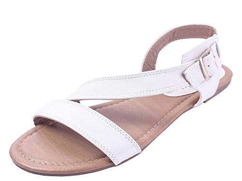 Talon Sandales Cuir Boucle Blanc AgeeMi Unie Shoes Non 26 PU FemmeCouleur 4wxxOaq8I