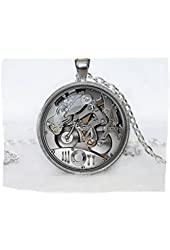 Steampunk Clock Pendant Steampunk Clock and Stop Watch Steampunk Pendant Art Gifts for Her