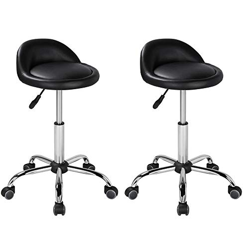 Yaheetech Height Adjustable Hydraulic Rolling Swivel Salon Stool Chair Tattoo Massage Facial Spa Stool Chair with Backrest Black – 2PCS