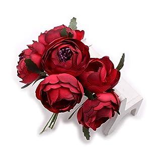 Rose tea buds Silk Big Artificial Flowers Bride Bouquet DIY Festival Home Decor Wedding Party Flores Home Hats Decoration Marriage Wreath Plants 30pcs (Dark red) 26