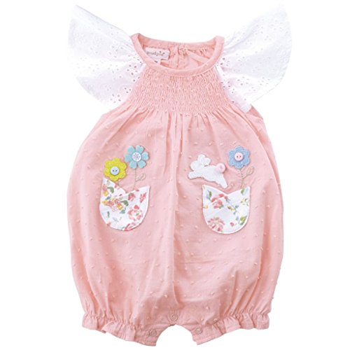 Easter Bunny Bubble - Mud Pie Baby Girls Easter Bunny Smocked One Piece Bubble Playwear, Pink, 0-3 Months