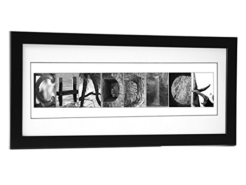 Wall Art Framed Letters - Creative Letter Art Personalized 12 by 26 inch Framed Name Sign with Nature Related Alphabet Photographs including Self Standing Frame