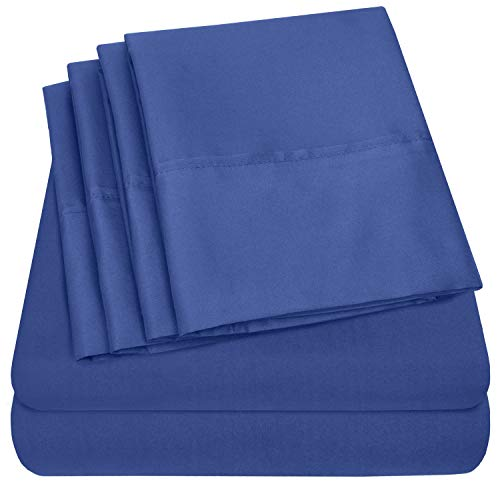 Sweet Home Collection Quality Deep Pocket Bed Sheet Set - 2 EXTRA PILLOW CASES, VALUE, Twin XL, Royal Blue, 4 Piece ()