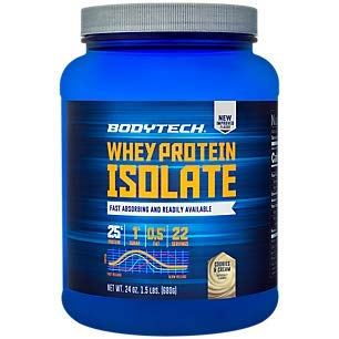 BodyTech Whey Protein Isolate Powder with 25 Grams of Protein per Serving BCAA s Ideal for PostWorkout Muscle Building Growth, Contains Milk Soy Cookies Cream 1.5 Pound