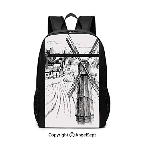 Travel Backpack Laptop Backpack,Hand Drawn Rural Scenery Small Town Farm Houses Forest and Mill Romantic Sketch,Black White,6.5
