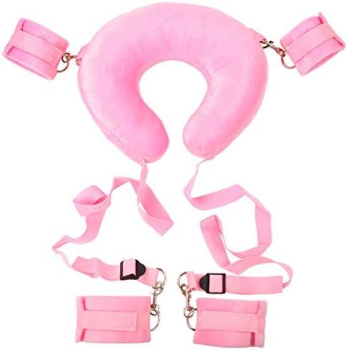 HEALLILY Sex-Fesseln verstellbare Handgelenk-Fußfesseln mit Nackenkissen BDSM-Leder-Bondage-Sets Bett-Fessel-Set Fesselriemen für Paare (pink)