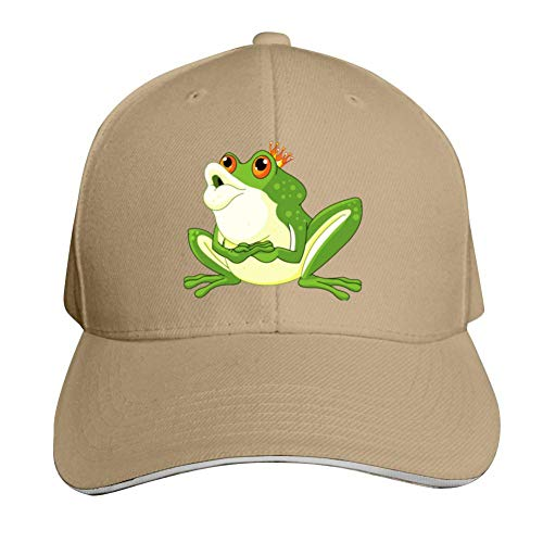- SsSEYYA Sandwich Cap Cute Green Prince Frog Durable Baseball Hats Adjustable Peaked Trucker Cap Natural