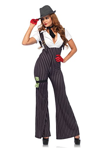 Mob Halloween Costumes (Leg Avenue Women's 3PC.Brass Knuckle Babe, Black/White,)