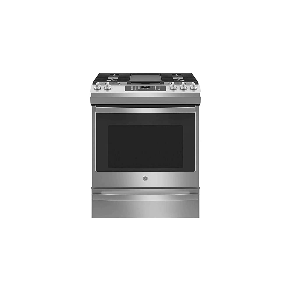 GE JGS760SPSS 30 Inch Slide-In Gas Range with 5 Sealed Burners, 5.3 Cu. Ft. Convection Oven, No Preheat Air Fry, 18,000…